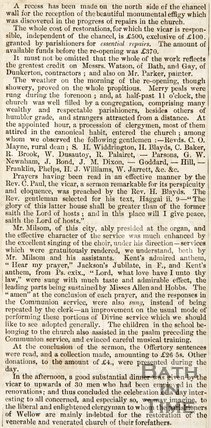 Continuation of newspaper article announcing the re-opening of Wellow Church. December 17th 1845.