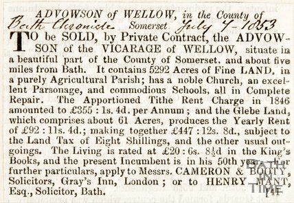 Newspaper cutting. Anouncement of the Advowson, Wellow for sale. July 7th 1853.