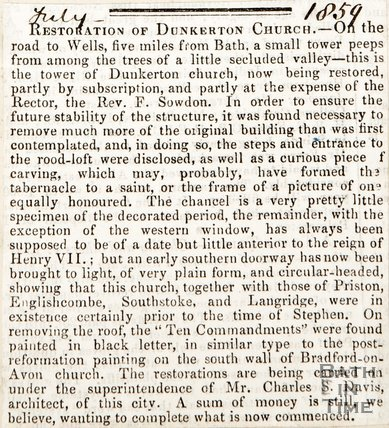 Newspaper article. July 1859. Restoration of Dunkerton Church