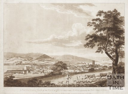 A Southwest View of the City of Bath taken from a field ajoining the New Wells Road, 1787