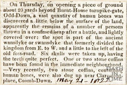 Newspaper article, 1822. Discovery of Human Remains at Odd Down