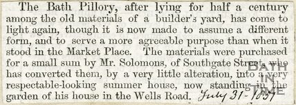 Newspaper article, 1857. The rediscovery of the Bath stocks.