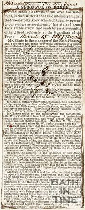 Newspaper article, 1857. A review of the poor unable to attend a pantomine.