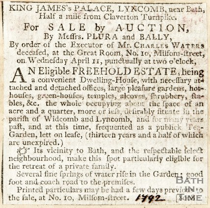 Newspaper article. Announcing King James Palace Lyncombe is for sale, 1792.