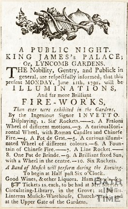 Newspaper article. Announcement of public firework display at King James Palace, Lyncombe Vale 1792?