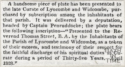 Newspaper article. April 1828. Announces the presentation of a plate to the late Curate of Lyncombe and Widcombe.