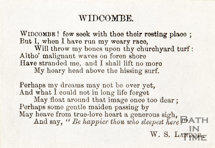 A poem entitled Widcombe. By W.S. Landor.