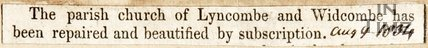 Newspaper article. The Parish Church of Lyncombe and Widcombe has been repaired and beautified by subscription. August 9th 1834