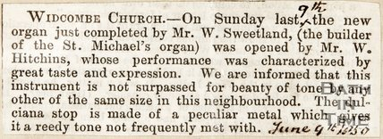 Newspaper article. Widcombe Church receives a new organ 1850