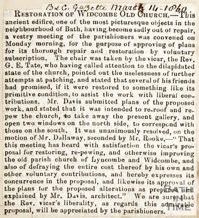 Newspaper article. Restoration of Widcombe Old Church, 1860