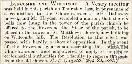Newspaper article. Lyncombe and Widcombe, 1827.