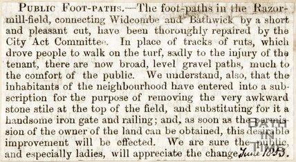 Newspaper article. Public Footpaths June 1853