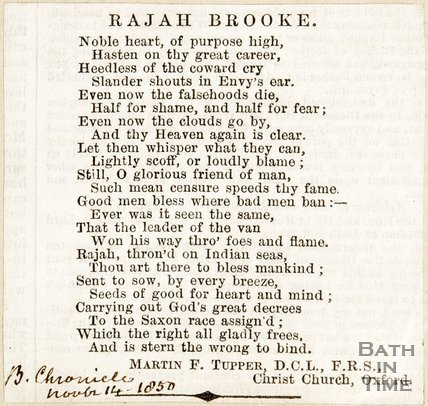 Poem entitled Rajah Brooke. November 14th 1850.
