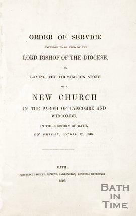 A pamphlet for the new church of Widcombe and Lyncombe, 1846.