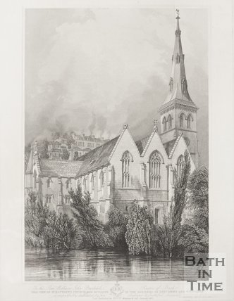 View of St Matthews Church now building in the Parishes of Lyncombe and Widcombe 1847