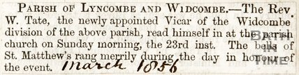 Newspaper article. The Parish of Lyncombe and Widcombe has a new reverand. March 1856.