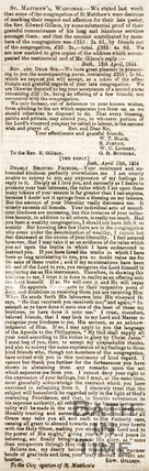 Newspaper article. St Matthews Widcombe. April 1854.