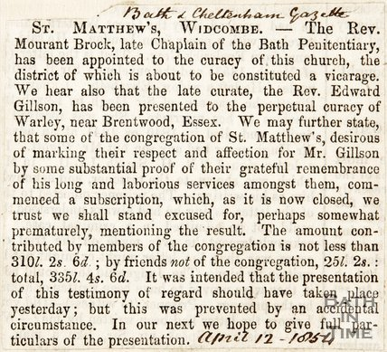 Newspaper article. St Matthews Widcombe. April 12th 1854.