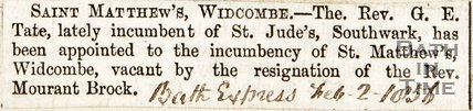 Newspaper article. St Matthews, Widcombe, 1856.