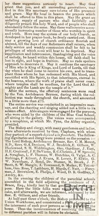 Newspaper article continued. Consecration of the new chruch at Widcombe. July 29th 1847.