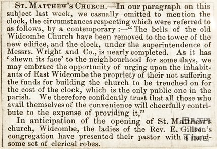 Newspaper article. St Matthews Church, 1847.