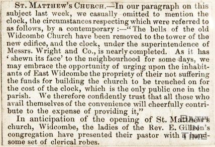 Newspaper article. St Matthews Church, 1847.