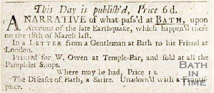 Newspaper article. Earthquake at Bath
