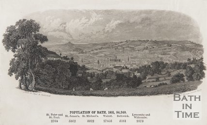 View of Bath, taken near Prior Park c.1851 detail