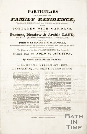 Poster advertising the auction of the property of the late William Redman, 1832