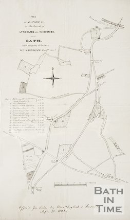 Plan of lands in the parish of Lyncombe and Widcombe, property of the late William Redman, 1831