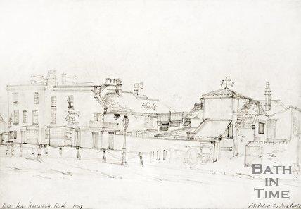 Pencil drawing of the Bear Inn and Brewery, Bear Flat, Bath 1841