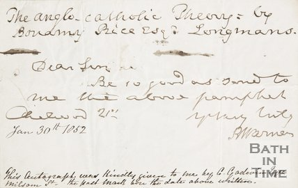 A letter from Richard Warner dated January 30th 1852 asking for a pamphlet.