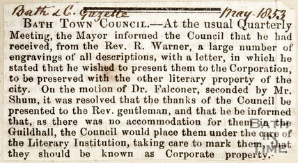 Newspaper article. Bath Town Council Donation of paintings from R. Warner May 1853
