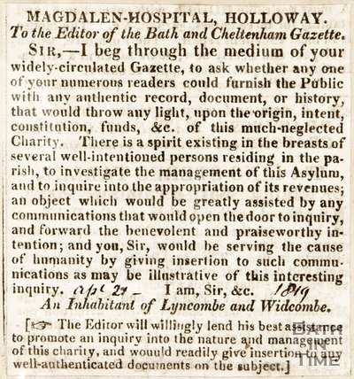 Newspaper article. Letter to the editor concerning the Magdalen Hopsital, 1819