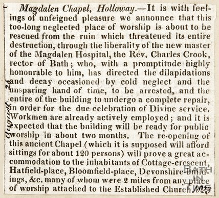 Newspaper article. The reopening of the St Mary Magdalen Chapel, 1823