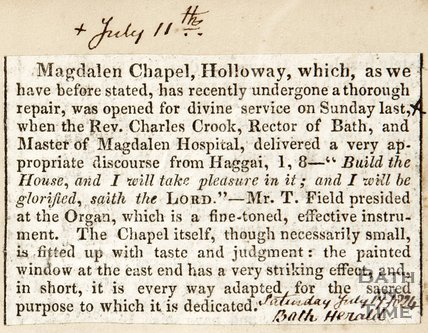 Newspaper article. Reopening of Magdalen Chapel Holloway. July 17th 1824.