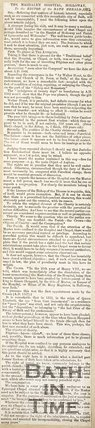 Newspaper article, 1854. A letter to the editor detailing a short historic summary of Magdalens Hospital.