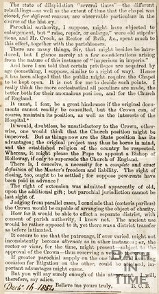 Newspaper article, 1854. A letter to the editor detailing a short historic summary of Magdalens Hospital. (Continuation of)