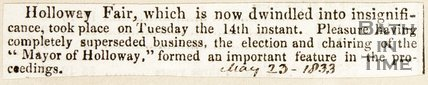 Newspaper article. Reviewing the Holloway Fair, 1833.
