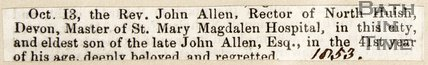Newspaper article, 1853. Announcing the Rev. John Allen, Master of St Mary Magdalen Hospital. had died.