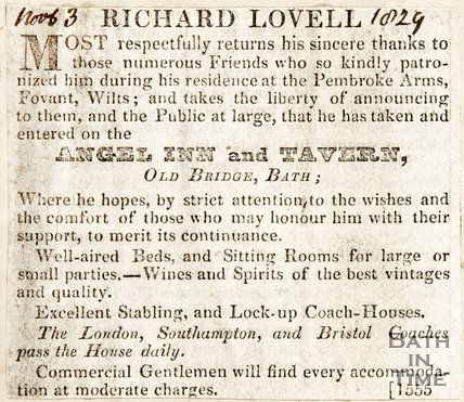 Newspaper article. The Angel Inn and Tavern and Richard Lovell, 1829.