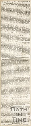 Continuation of newspaper article. Kingsmead Square, 1825