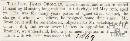Newspaper article. Announcement of the death of Rev. James Bromley, 1869.