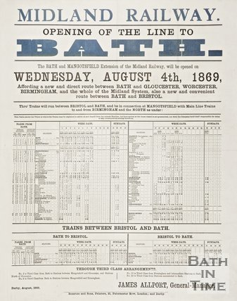 Poster advertising the opening of a line to Bath by the Midland Railway, 1869