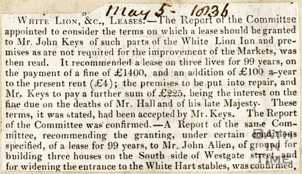 Newspaper article outlining the lease terms of the White Lion Inn to Mr John Keys, 1836.