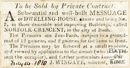 Newspaper article advertising a house for sale (No. 7 Norfolk Crescent), 1810.