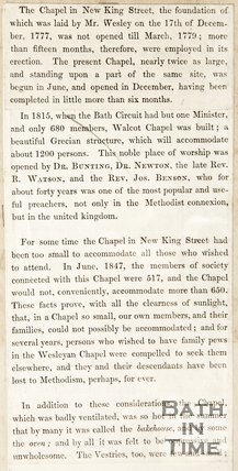 Book extract about the history of the Chapel in New Kings Street.