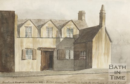 Watercolour painting Heart and Compass, Cumberland Row, enlarged in 1837.