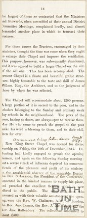 Book extract (back of). About the history of the Chapel in New King Street.