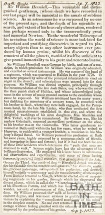 Newspaper article. Obituary of Sir William Herschel, 1822.